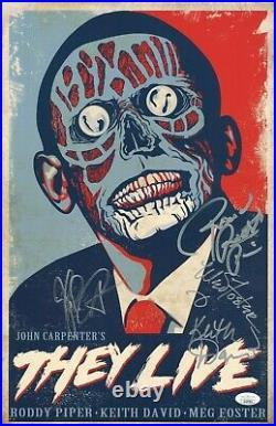 They Live 11x17 Poster Signed by Piper, Carpenter, Foster, David JSA Cert