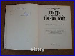 Tintin et Les Mystere De La Toison D'Or signed by Herge rare