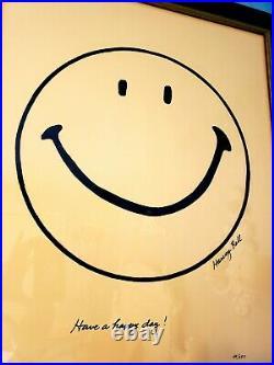 ULTRA RARE Harvey Ball SMILEY Creator Hand Drawn Signed Numbered Framed COA