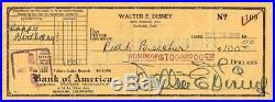 WALT DISNEY AUTOGRAPH SIGNED CHECK Birthday Gift to His Sister