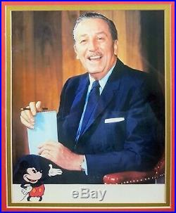 WALT DISNEY framed autograph hand signed with photo featuring Mickey Mouse