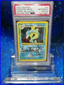 WOW! PSA Autographed Gyarados HOLO sketch Mitsuhiro Arita Pokemon NO Charizard