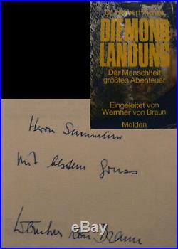 Wernher von Braun Mond Orig. Buch signed signiert autograph Signatur Autogramm